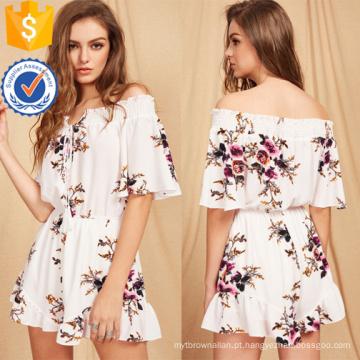 Multicolor Floral Imprimir Tie Frente Romper OEM / ODM Fabricação Atacado Moda Feminina Vestuário (TA7013J)