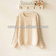 PK17ST076 cable knit crew neck ladies sweater