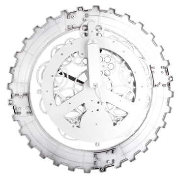 Reloj de pared Metal Big Gear blanco
