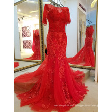 LS68201Half sleeve V back red chiffon maxi summer dresses for women party long wedding