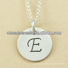 Haute polonaise en acier inoxydable alphabet E charmes pendentif collier en gros lettres charmes