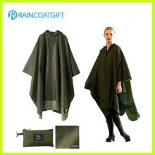Wasserdichte Army Green Polyester PVC Regenmantel Rpy-046