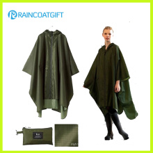 Waterproof Army Green Polyester PVC Raincoat Rpy-046