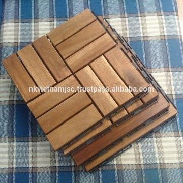 Checker Patterns with 12 Slats Made of Acacia - Long Lasting Deck Tiles 2017