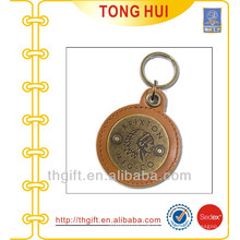 Round engraved logo leather keyrings