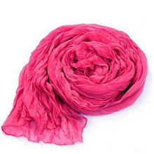 Lana de algodón sólido grande 180 * 90 cm Nueva bufanda de impresión arrugado de la moda