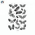 Черное тело бабочки украшения временные татуировки наклейки