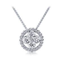 Runde CZ 925 Silber Anhänger Halskette Schmuck für Mädchen