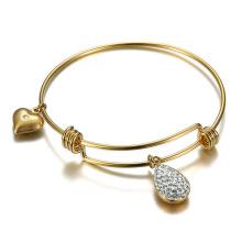 Design de moda Jóias Ajustável Diy Amor Calaite Chapeamento De Ouro Fio de Cristal Pulseira Pulseira