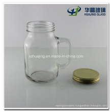 500ml Empty Glass Mason Jar Mug with Handle