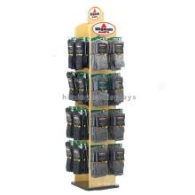 Merchandising Wood Retail Store Spinner Display Racks, Floorstanding Sock Textile Display Racks