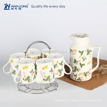 2016 Arabic Hot Sale Chinese Tea Pot Set, Strawberry Painting Fine Ceramic Tea Set