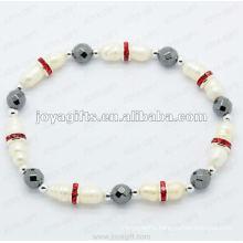 "Magnetic Hematite Round Beaded Bracelet 7.25"""