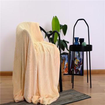 Cobertor de lã jacquard de milho tingido de veludo coral