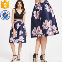 Flower Print Box Pleated Skirt Manufacture Wholesale Fashion Women Apparel (TA3090S)