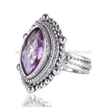 Natürlicher Amethyst Edelstein 925 Sterling Silber Handgefertigte Designer Ring