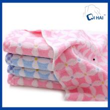 100% Hilado de algodón teñido de flores Jacquard toalla de cara