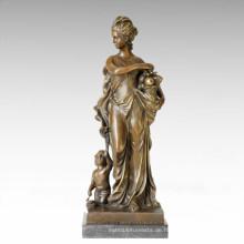 Klassische Figur Statue Lady Shopping Bronze Skulptur TPE-129