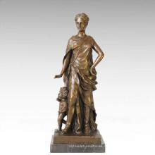 Estatua de la figura clásica Escultura de bronce de la madre-hijo TPE-126
