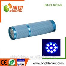 Fábrica de suministro de alta calidad de luz ultravioleta escorpión Blacklight bolsillo 390-400nm joyas de detección 9 Led ultra barato violeta linterna