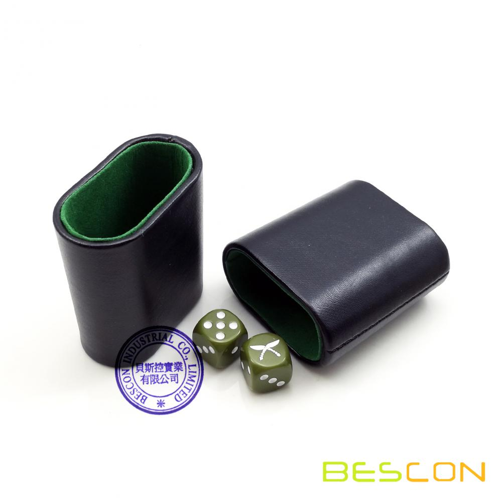 High Quality Lined Leatherette Oval Backgammon Dice Cup