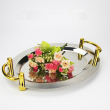 Round Square Stainless Steel Food Dish Decorative Serving Tray ,Catering Charge Plate