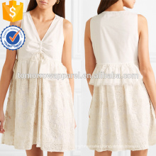 Hot Sale White Embroidered Cotton Sleeveless V-Neck Mini Summer Dress Manufacture Wholesale Fashion Women Apparel (TA0249D)