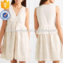 Горячая Продажа Белый вышитые хлопка рукавов V-образным вырезом мини летнее платье Производство Оптовая продажа женской одежды (TA0249D)