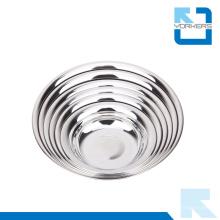 Anti-Derramamento Round Shape 201 Aço Inoxidável Dinner Sopa Plate & Dish Plate