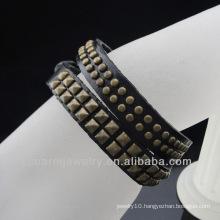 Wholesale 2 Layer Double Strap Genuine Leather Handmade Punk Adjustable Bracelet BGL-060