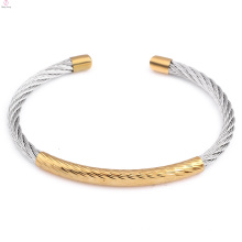 2018 Mode einfache einstellbare Armreif Klassiker Manschette Edelstahl Kabel Armband