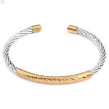 2018 moda simples ajustável pulseira clássicos manguito cabo de aço inoxidável pulseira