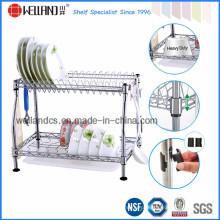 Patenteado DIY cromo metal cozinha dish drainer rack