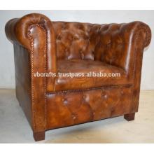 Sofá de sofá de cuero genuino, color marrón oscuro