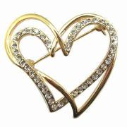 2 Blank Heart Linking Brooch with Clear Rhinestone Fashion Jewelry
