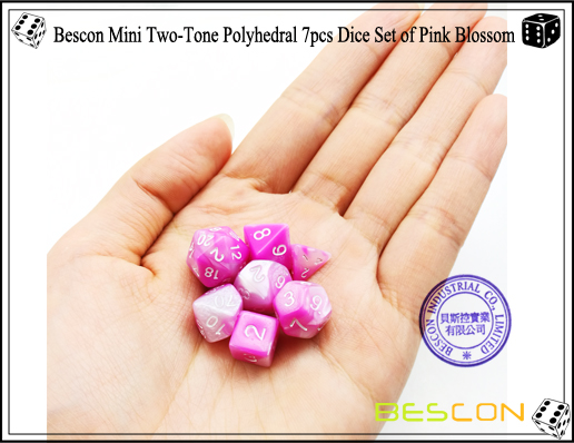 Bescon Mini Two-Tone Polyhedral 7pcs Dice Set of Pink Blossom-5