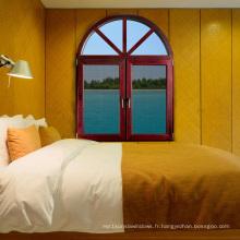Foshan Fenêtre à double vitrage en aluminium à grain de bois