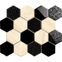 Flower Pattern Hexagon Glass Mosaic