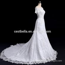 Off Shoulder Short Sleeve beaded bling wedding dress bridal gown mermaid