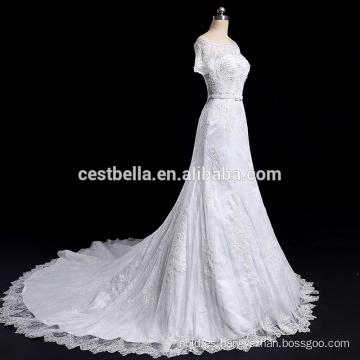De la manga corta del hombro rebordeado bling vestido de novia vestido de novia sirena