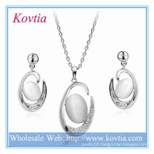 Bridal exquisite silver big pendant necklace and earrings jewelry sets for wedding