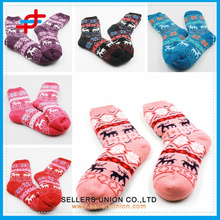 Winter Cotton Velvet Knitted Colored Cute Deer Indoor Warn Socks for wholesales