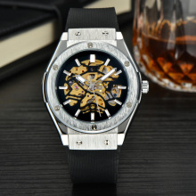 leisure skeleton automatic sapphire stainless men watch