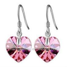 Moda en forma de corazón rosa pendientes de cristal para las mujeres SE-001C