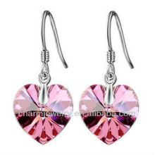 Moda coração em forma de brincos de cristal rosa para mulheres SE-001C
