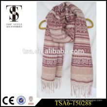 100% Acryl Schal Jacquard-Mode-Design lange Schals mit Fransen in China gemacht
