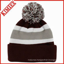 Cheap Knitted Stripe Beanie with POM POM