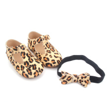 Bowknot Lågpris Leopard Baby Girl Dress Skor