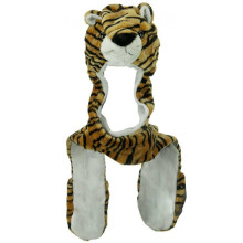 Tiger animal hat with cuddly faux fur scarf and mitten