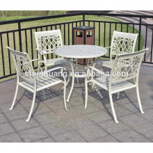 All weather white outdoor furniture dining sets cast aluminum chairs